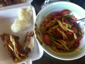 Grilled Chicken, Papaya Salad, and Sticky Rice