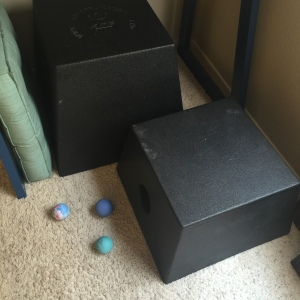 20 and 12 inch boxes with a square pad that helps facilitate comfy-ish stretching,